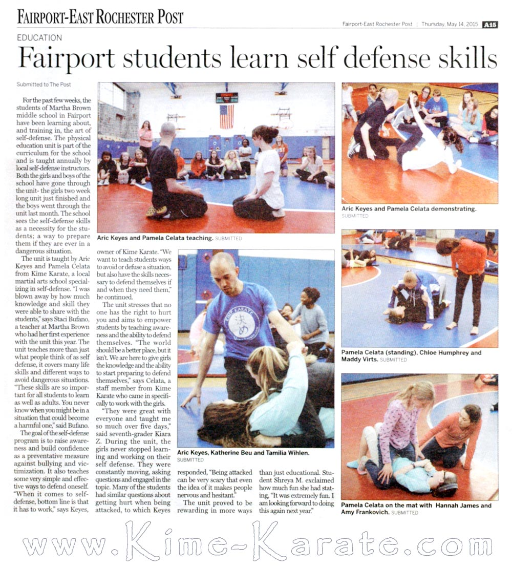Newspaper article from 14 June 2015 on our self defense program in the Fairport school district.