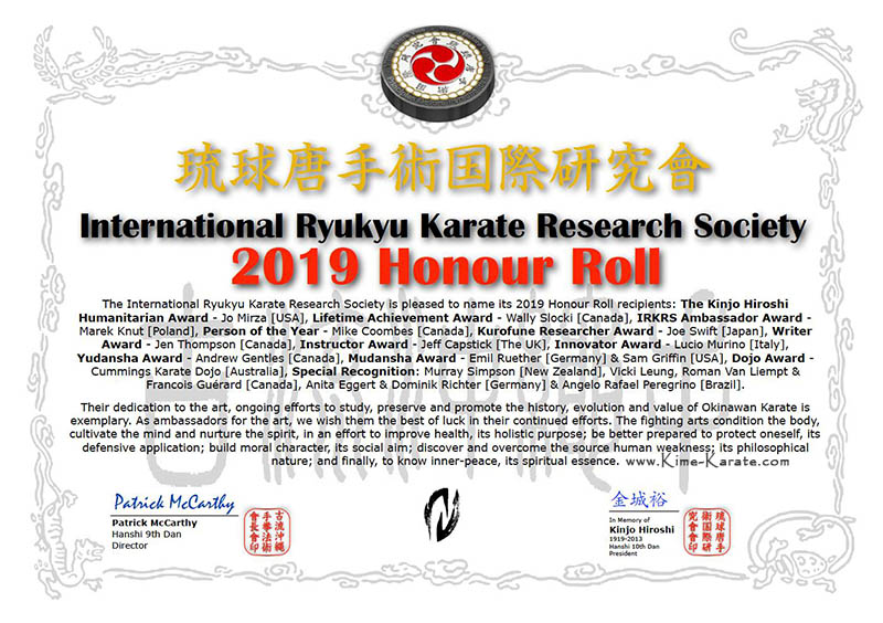 IRKRS Honour Roll 2019